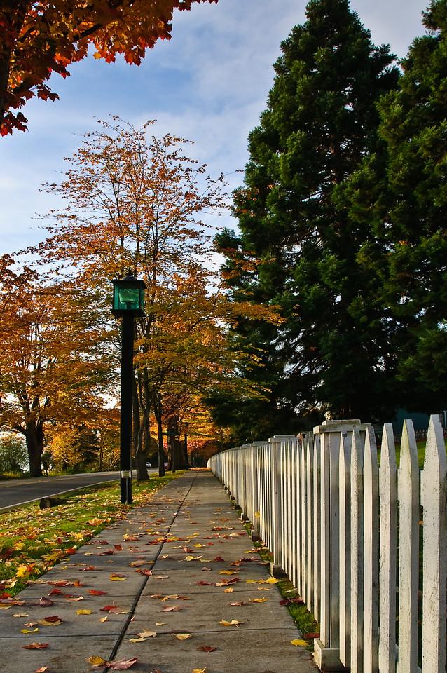 Port Gamble Sidewalk in Fall.