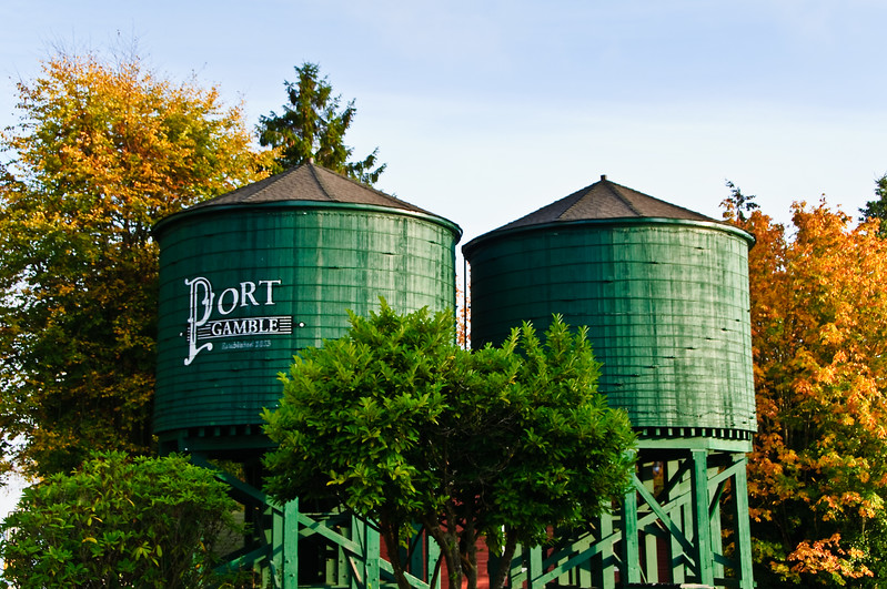 Water Tanks in Port Gamble with Fall Colors.