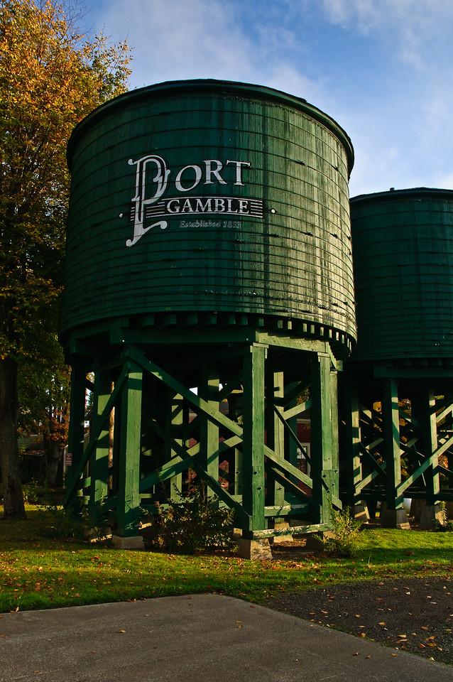 Port Gamble Water Tank in Fall.