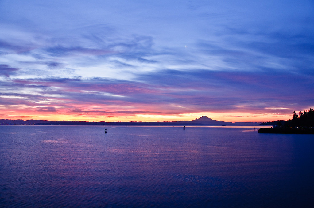 Sunrise over West Seattle and Mt Rainer.