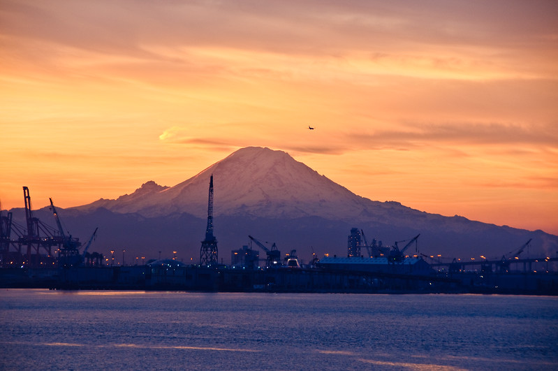 Sunrise over Mt Rainer and Port of Seattle two.