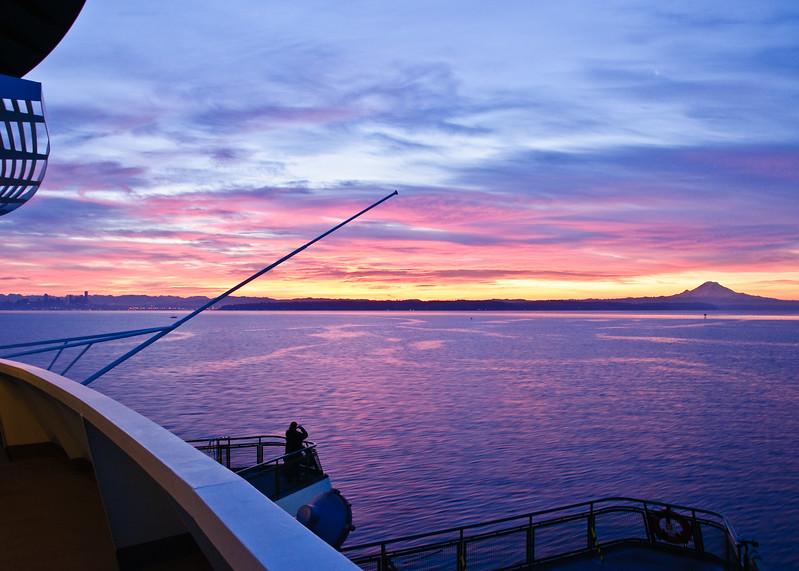 Sunrise over Seattle from the Bainbridge Island ferry.