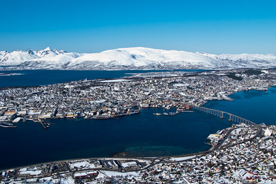 Tromsø in the winter, from the mountain Fløya