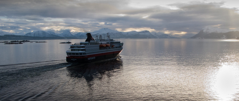 Hurtigruten (or the Coastal Express) Nordkapp leaving Molde
