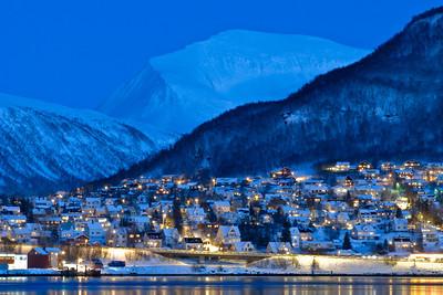 Twilight over Tromsdalen outside Tromsø, with Tromsdalstinden in the background