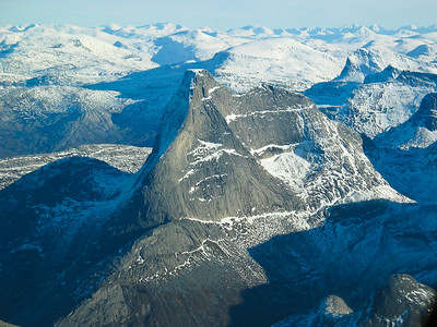 The mountain Stetind, with it's flat top, in Nordland in Northern Norway