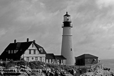 portland head light (b+w) cape elizabeth, maine