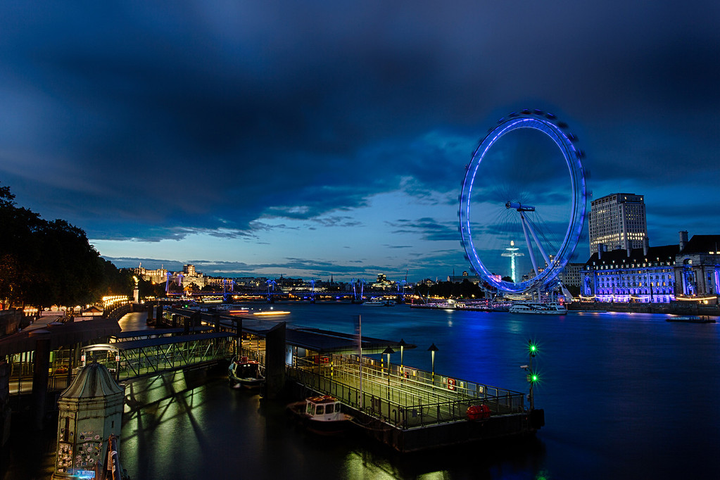 The London Eye and the Thames at sunset.