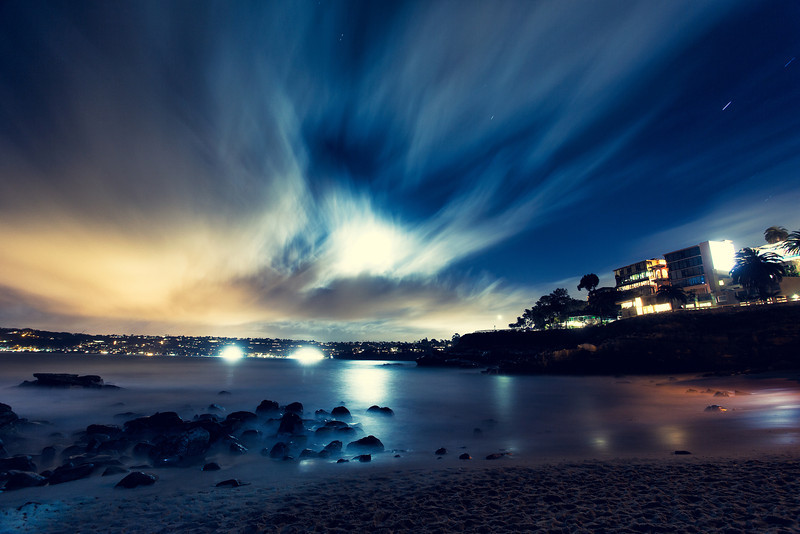 La Jolla Cove at night