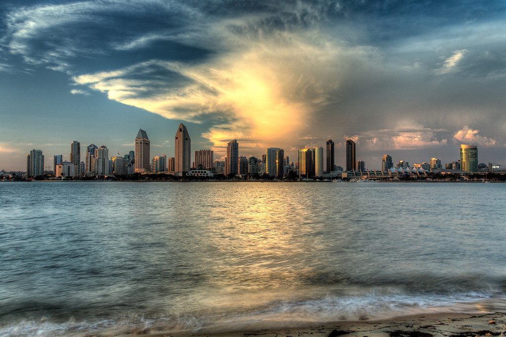 San Diego Skyline from Coronado. . .before the lights came on