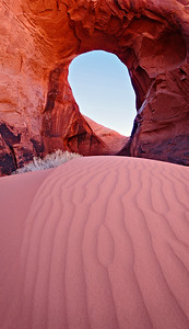 Sandlines to the Ear. Ear of the Wind Arch, Monument Valley, Arizona