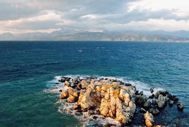 Rock outcrop, Kassiopi looking to Albania, Corfu - 2003