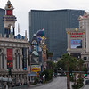 Looking south from the pedestrian bridge to the Venetian.   You can just barely see The Mirage in the right. (This is an extreme zoom that looks past The Venetian.  But we were on the pedestrian bridge to the Venetian.)