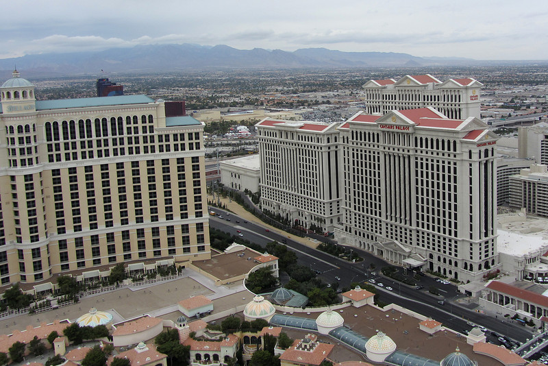 Looking northwest to Caesar's Palace.  Across East Flamingo Road.  The intersection just past the lower right is where the drive by shooting happened that left three dead (in early 2013.)