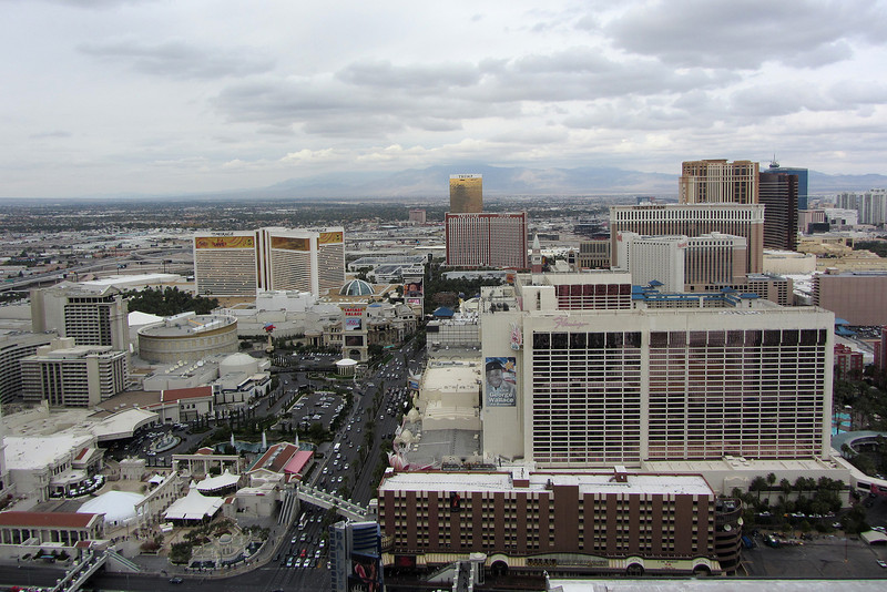 On top of the Eiffel Tower.  Looking North.  E. Flamingo Rd is in the left bottom.  Caesars Palace compound is to the left, just past E. Flamingo Rd.  Harrah's is to the right, just behind The Flamingo.