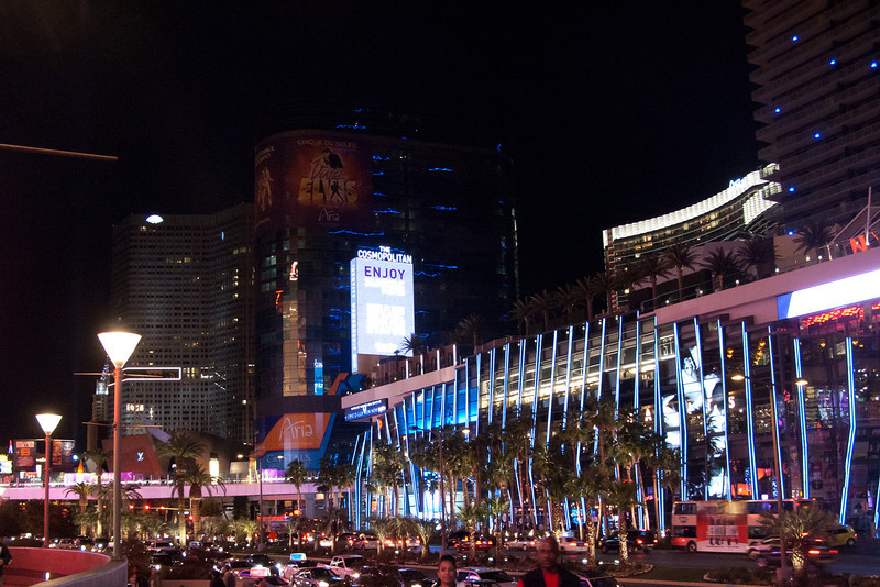 In front of Planet Hollywood looking south.  The Cosmopolitan is to the right.   The Harmon has the horizontal blue, spindly lights.