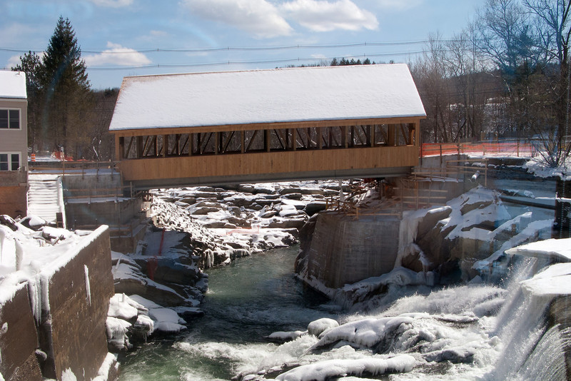 From Simon Pearce's dining room.  Quechee, VT. Showing the covered bridge that was rebuilt after being destroyed in Hurricane Irene in 2011.