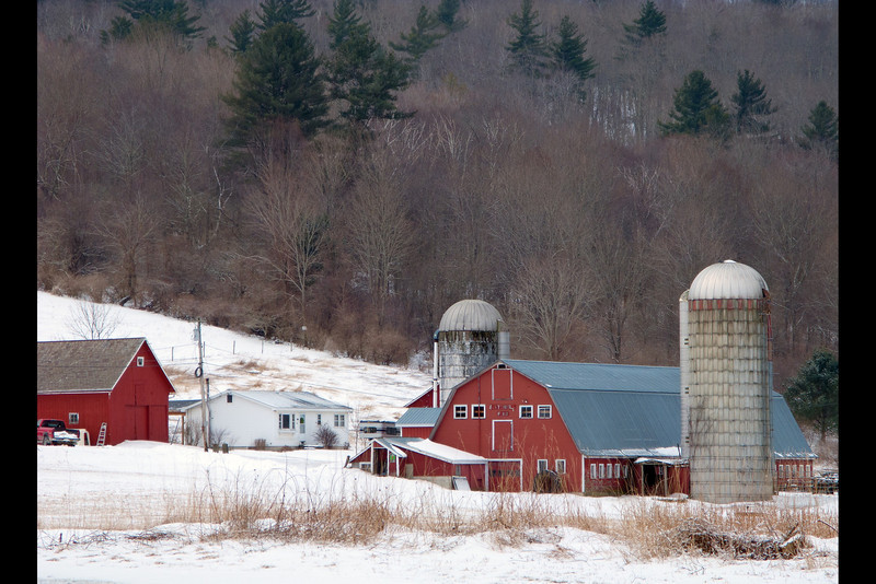 Battenkill Farm.  Vt.  Taken from the church parking lot that is next to the red covered bridge.