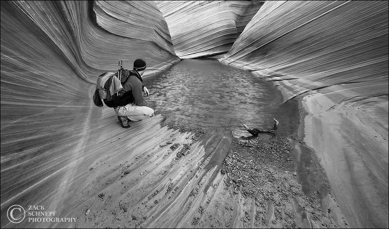"<font color=""#FFFFFF"" size=""4"" face=""Verdana, Arial, Helvetica, sans-serif"">Me Contemplating Options at the Wave</font><br> The Wave, Arizona"