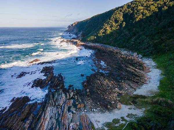 Aerial view of Otter trail beach Ngubu hut morning, Eastern Cape, South Africa