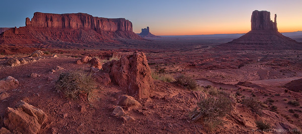 Just before sunrise, in Monument Valley (Navajo Tribal Park).