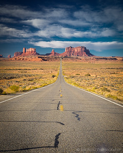 """I'm tired .... I think I'll go home"" - with those words, Forrest Gump stopped running at this exact spot. Road leading into Monument Valley."