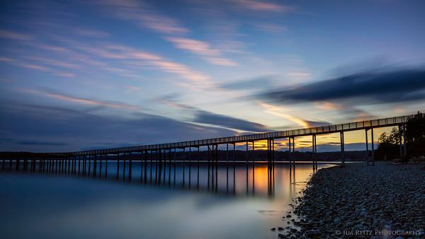 Indianola pier, sunset long-exposure