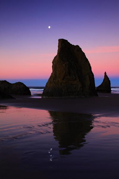 Sunrise and Moon with Sea Stacks on The Oregon Coast From Face Rock Beach Bandon Oregon