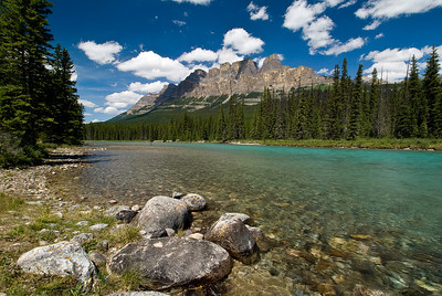 The Bow River with Castle Mountain in the Background