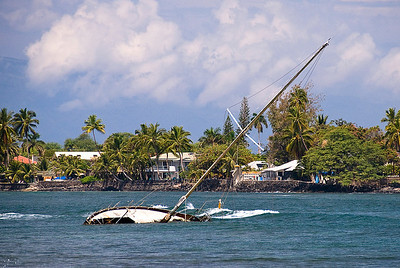 """Shipwreck on Lahaina Reef""  Several years ago during a storm, this sailboat broke loose from it's mooring and washed up on the reef."