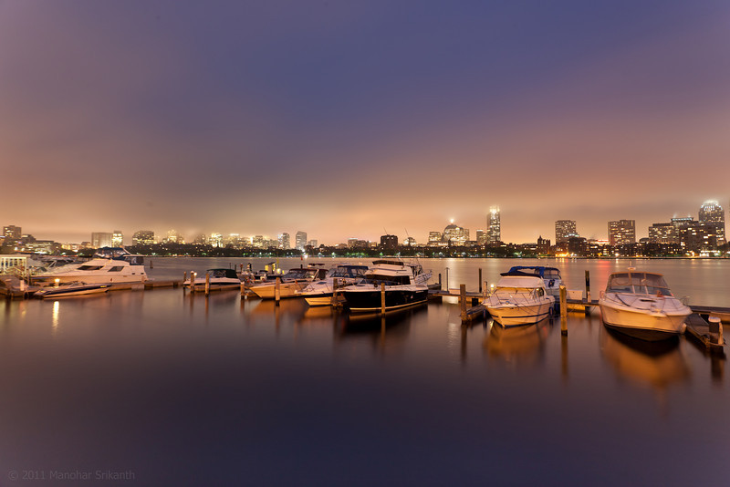 Calmness in Charles river after a big storm -- Boston skyline in the background.