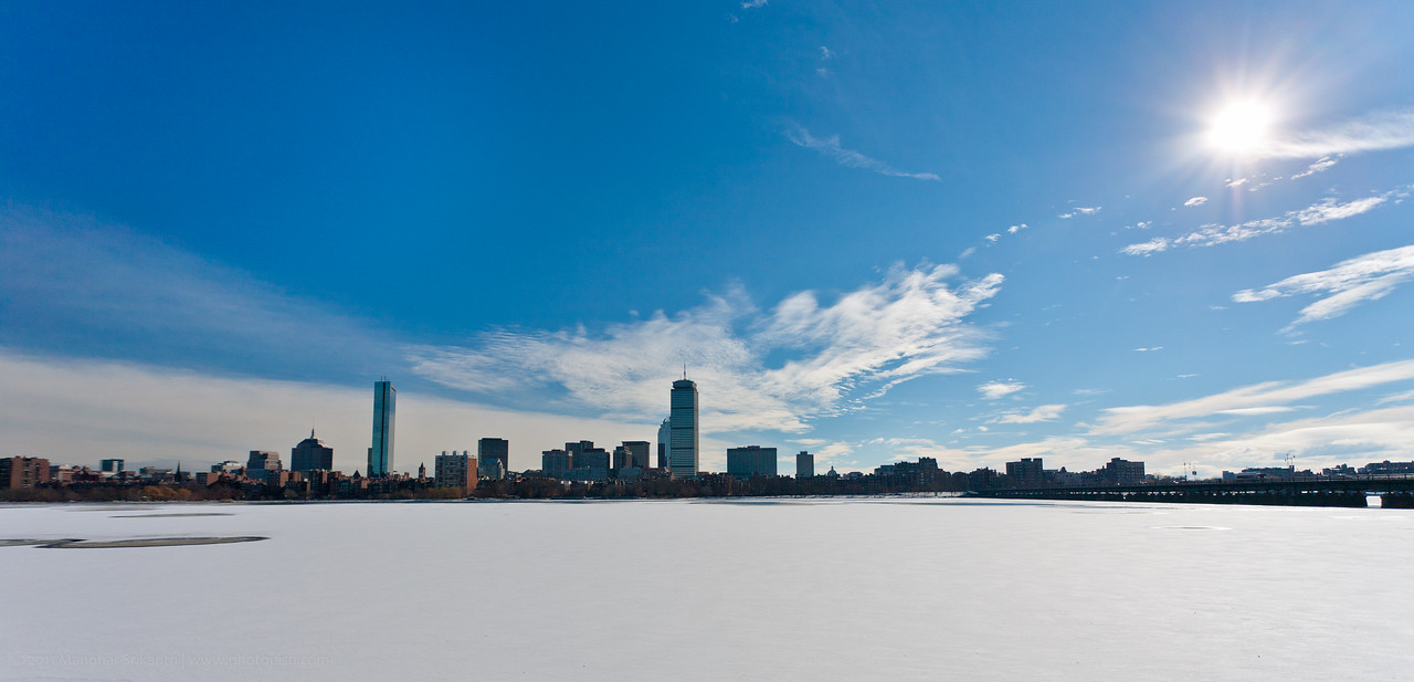 First snow of 2010 in Boston, MA. Charles river is frozen and covered in fresh snow.