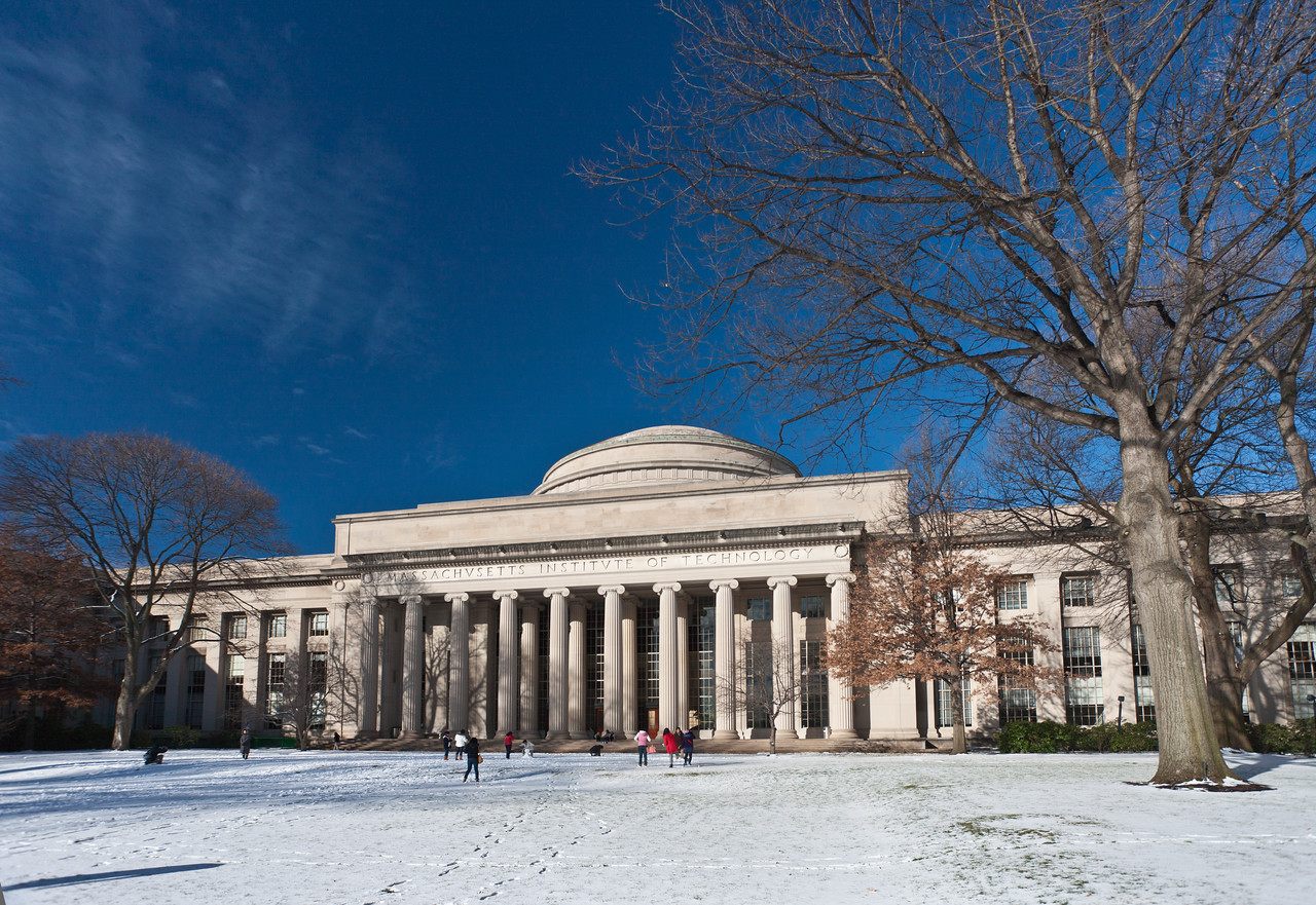 MIT Killian Court in snow.