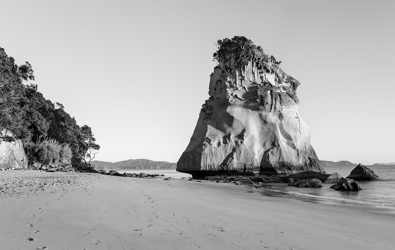 Cathedral Cove - B&W