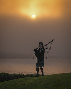 Bagpiper at sunset - Spanish Bay, California.
