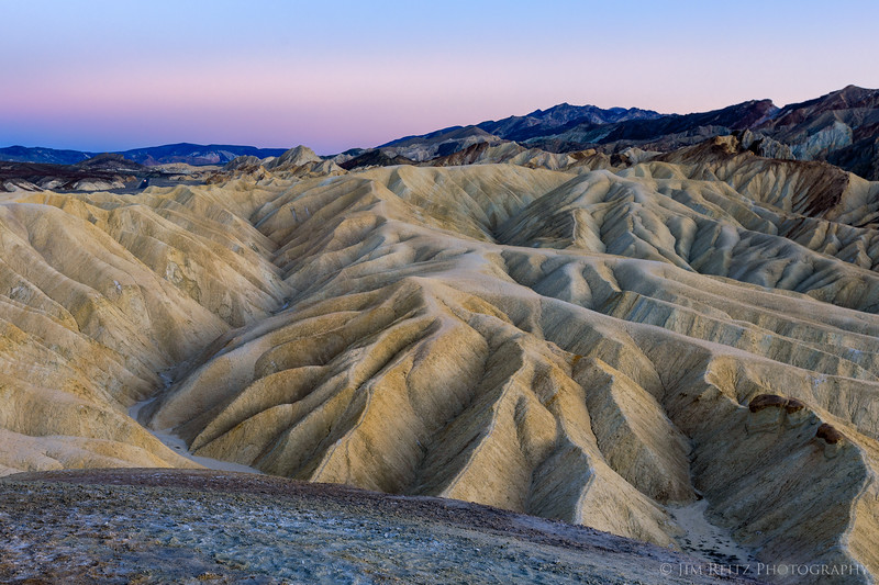 Just after sunset - twilight colors at Zabriskie Point in Death Valley.