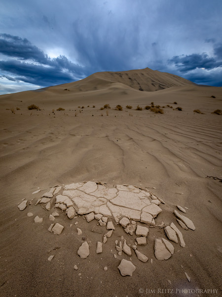 """Broken"" - the wind in the dunes has exposed some of the underlying cracked hard-pan."