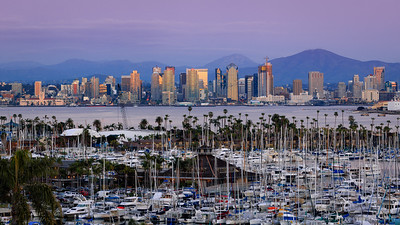 Classic twilight view of San Diego skyline.