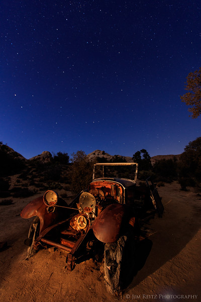 Old car under the stars - at Wall Street Mill gold-processing site, Joshua Tree National Park