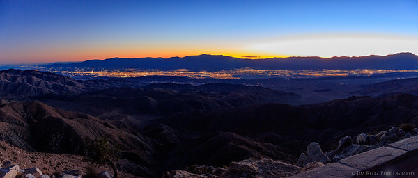 View of entire Coachella Valley area, from Palm Springs on the right to Indio and Salton Sea on the far left. Taken at Keys View overlook, Joshua Tree National Park.