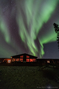 Aurora Borealis over Arctic Haven Lodge - Ennadai Lake, Nunavut Territories
