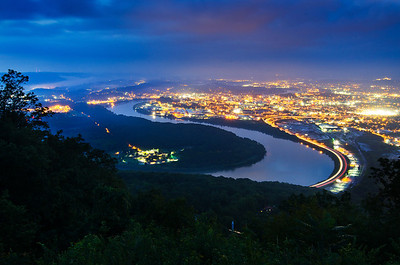 The view of Chattanooga from Lookout Mountain on a midsummer evening.
