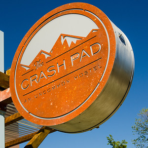 Signage for the Crash Pad Hostel