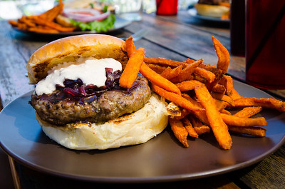 Burger and sweet potato fries at the Terminal Brewhouse Restaurant