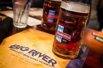 Having a beer at Big River Brewing.
