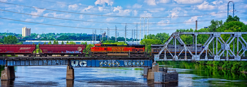Train over the Mississippi River
