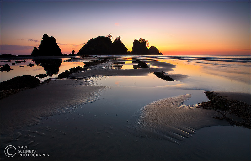"<font color=""#FFFFFF"" size=""4"" face=""Verdana, Arial, Helvetica, sans-serif"">Shi Shi Sunset</font><br> Olympic NP, Washington"