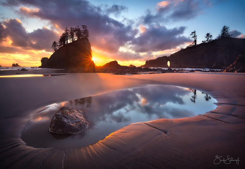 "<font color=""#FFFFFF"" size=""4"" face=""Verdana, Arial, Helvetica, sans-serif"">Second Beach Sunset</font><br> Olympic NP, Washington"
