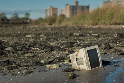 Computer monitor at low tide