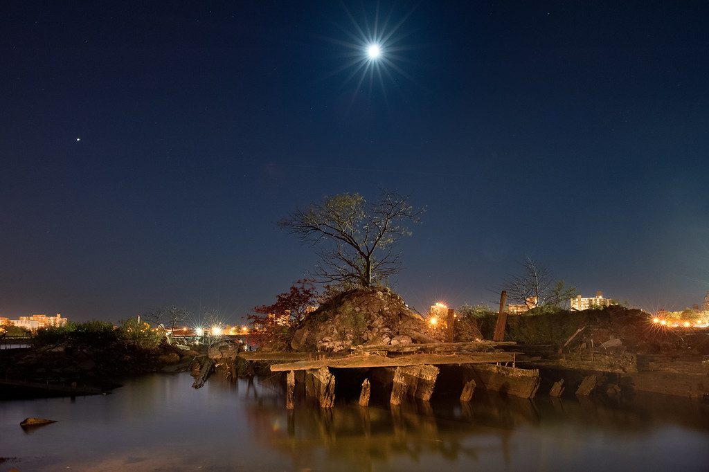 Tree growing on abandoned barge with Moon